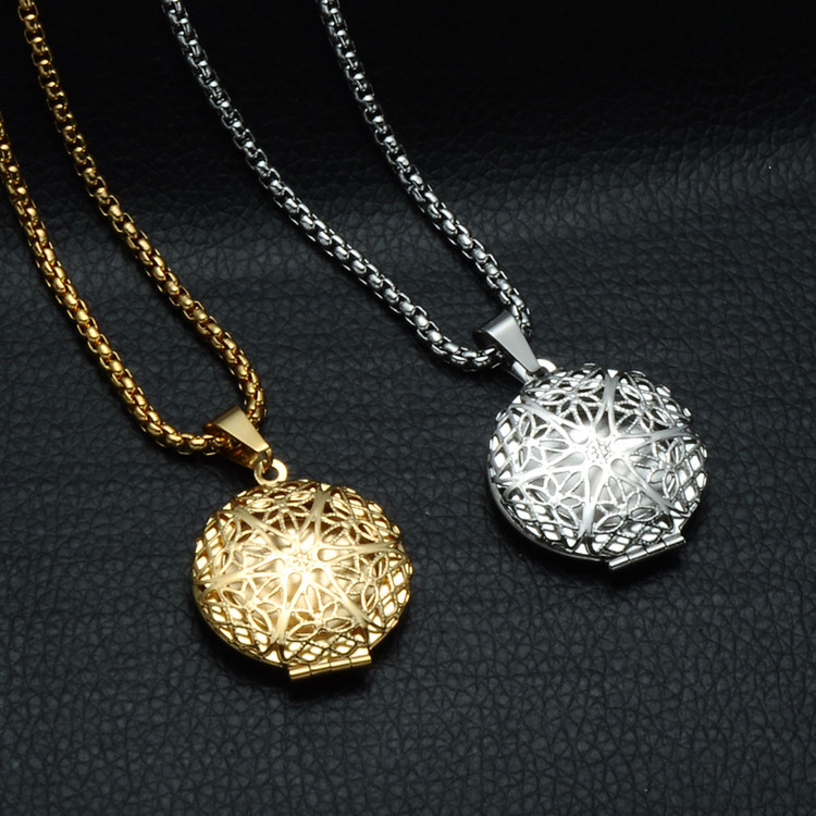 14k Gold Silver Stainless Steel Hollow Round Photo Frames Open Locket Chain Necklace