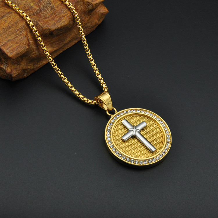14k Gold Two Tone Gold Color Stainless Steel Iced Out Bling Cross Pendant
