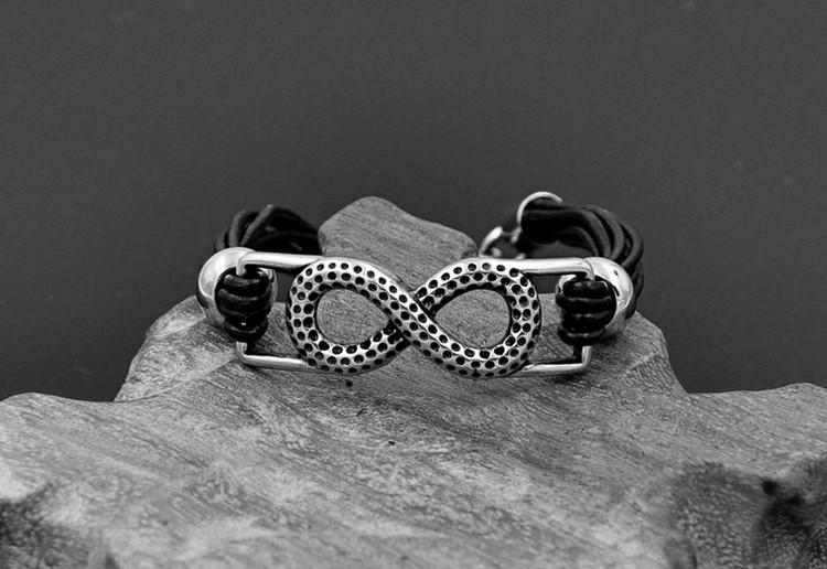 Black Leather Infinity Bracelet