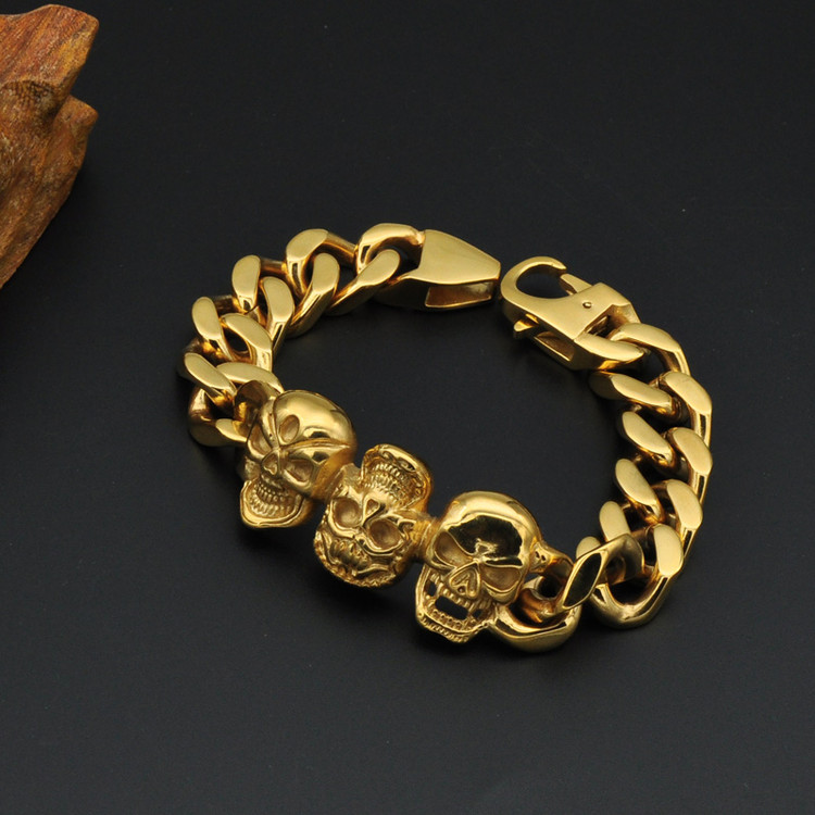 Mens 14k Gold Stainless Steel Three Skull Skeleton Link Bracelet