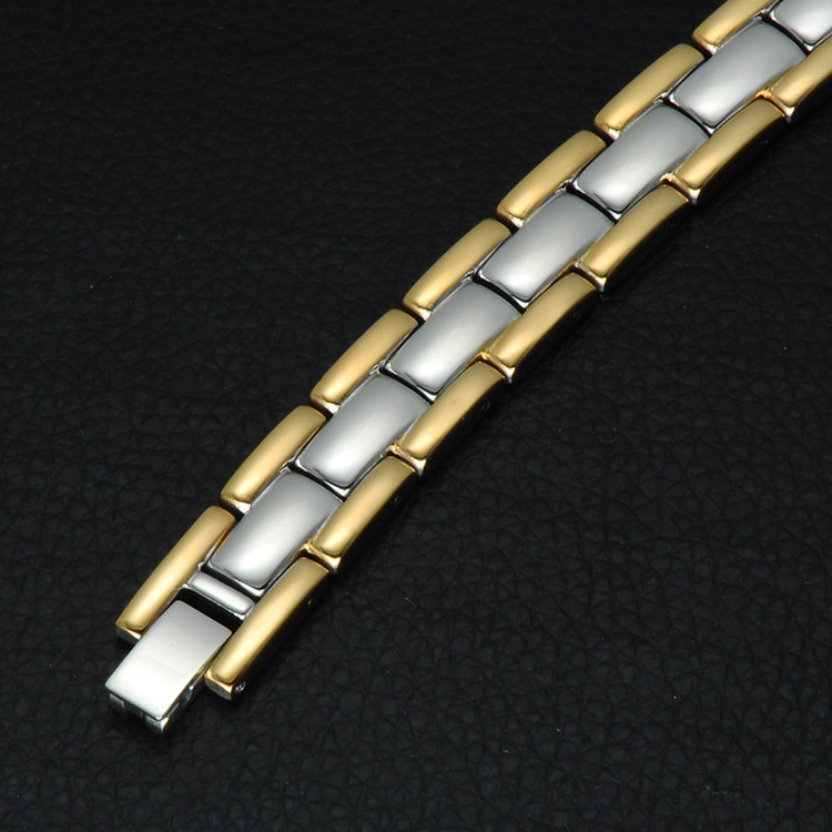 Mens Two Tone 14k Gold Silver Stainless Steel Hologram Bracelet
