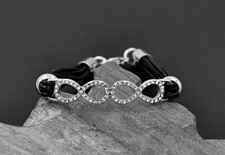 Ladies Multilayer Genuine Leather Stainless Steel Double Infinity Bracelet