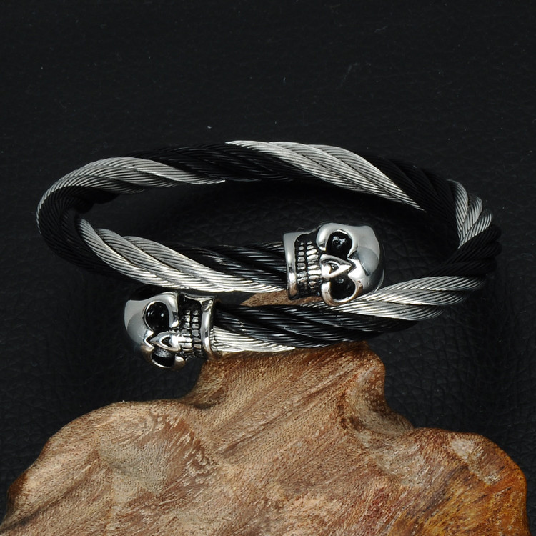 Double Skull Head Adjustable Bracelet