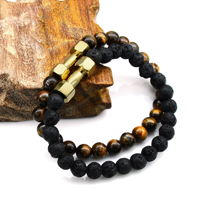 Mens Natural Tiger Eye Lava Stone Stainless Steel Bracelet
