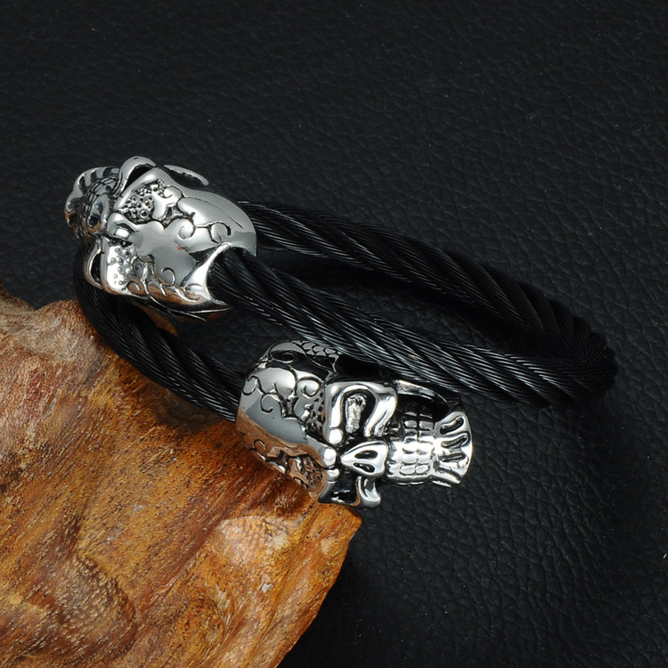 Black Stainless Steel Double Skull Head Bracelet