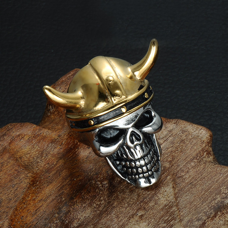 Viking Skull Head Titanium Stainless Steel Skull Ring
