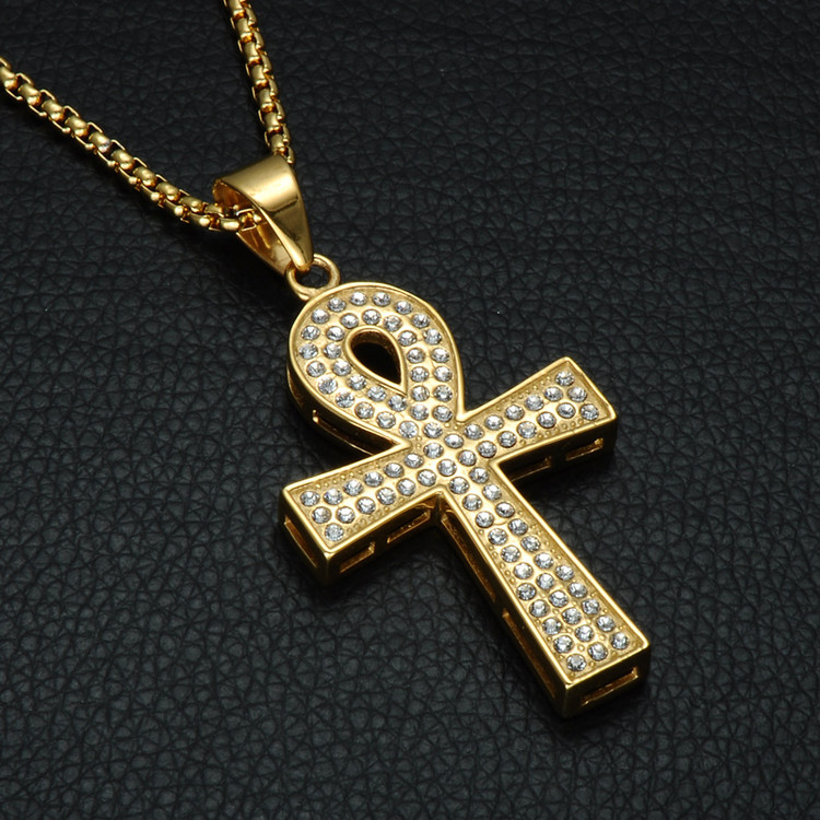 14k Gold Micro Pave  Lab Diamond Stainless Steel Egyptian African Ankh Cross Pendant