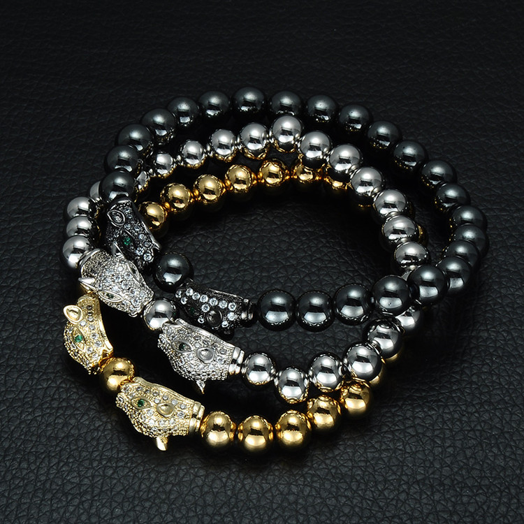 Diamond Eye Beaded Leopard Head Bracelet