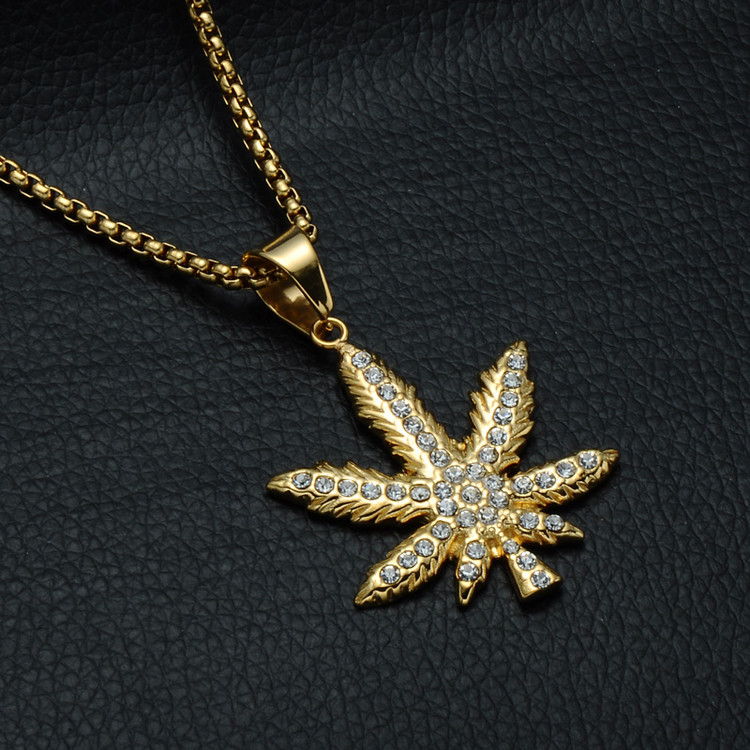 Diamond Weed Cannabis Leaf Pendant Chain