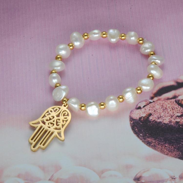 Natural Pearl Hamsa Fatima Hand Lucky Prayer Bracelet