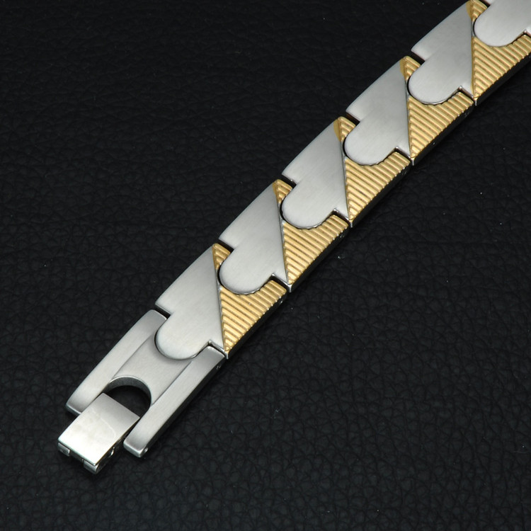 14k Gold Silver Stainless Steel Puzzle Link Bracelet