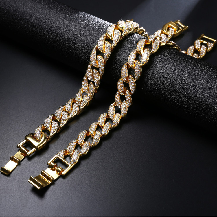 18K Gold Iced Out CUBAN Miami Chain Micropave Simulate Diamond Men/'s Bracelet