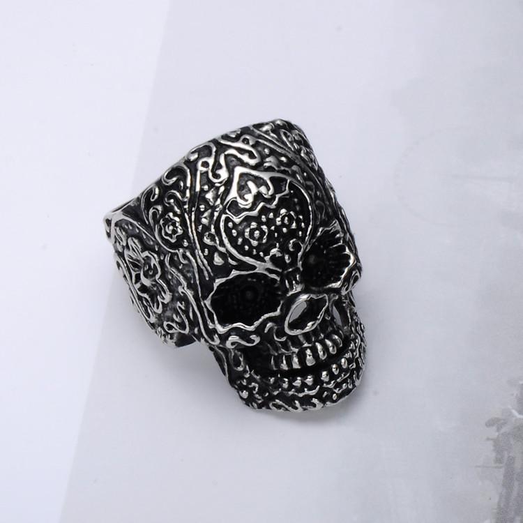 Tattoo Face Skeleton Skull Unique Ring