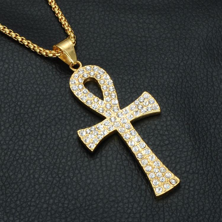 Titanium Simulated Diamond African Egyptian Ankh Cross