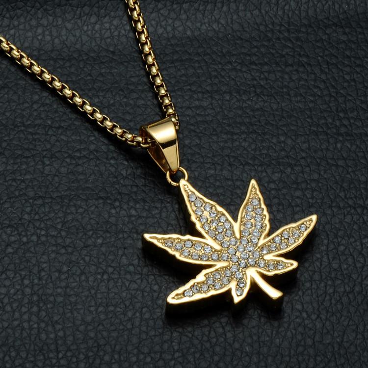 Hip Hop 14k Gold Weed Marijuana Leaf Pendant Chain