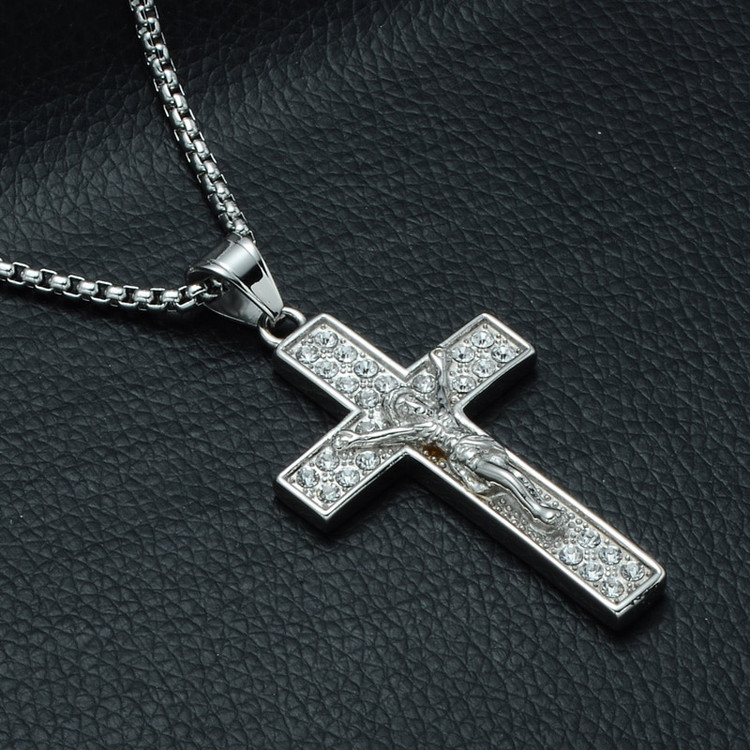 Iced Out 3D Jesus Block Titanium Stainless Steel Cross