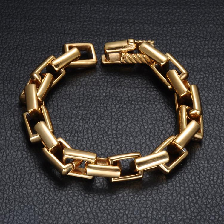14k Gold Bling Stainless Steel Bracelet