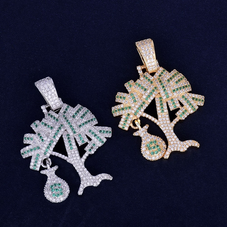 Iced Money Tree Pendant