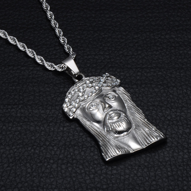 Jesus Piece Silver Stainless Steel No Fade Chain Pendant