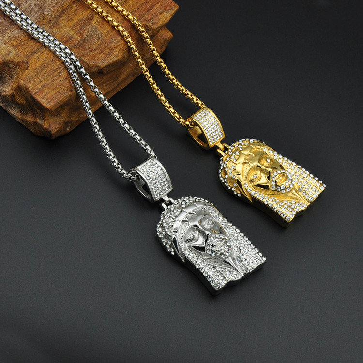 Titanium Stainless Steel Iced Out Bling Lab Diamond Jesus Piece