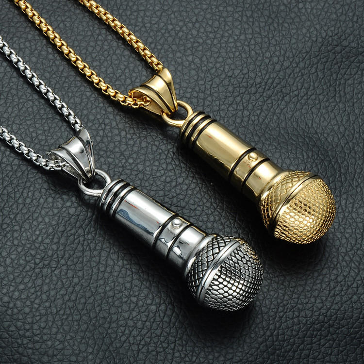Microphone One Mic Stainless Steel Titanium Chain Pendant