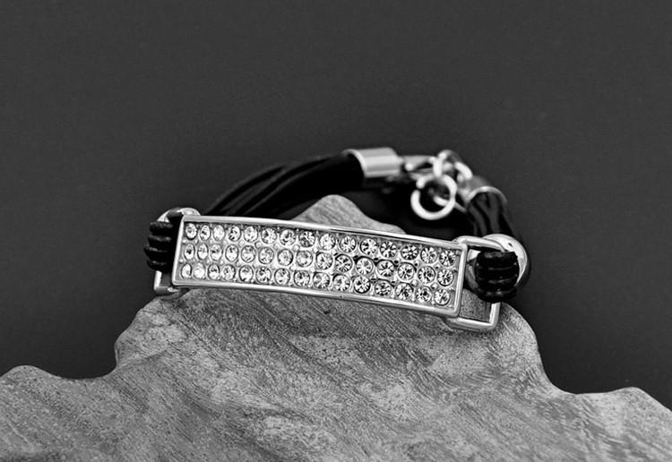 Leather Lab Diamond Stainless Steel Square Bracelet