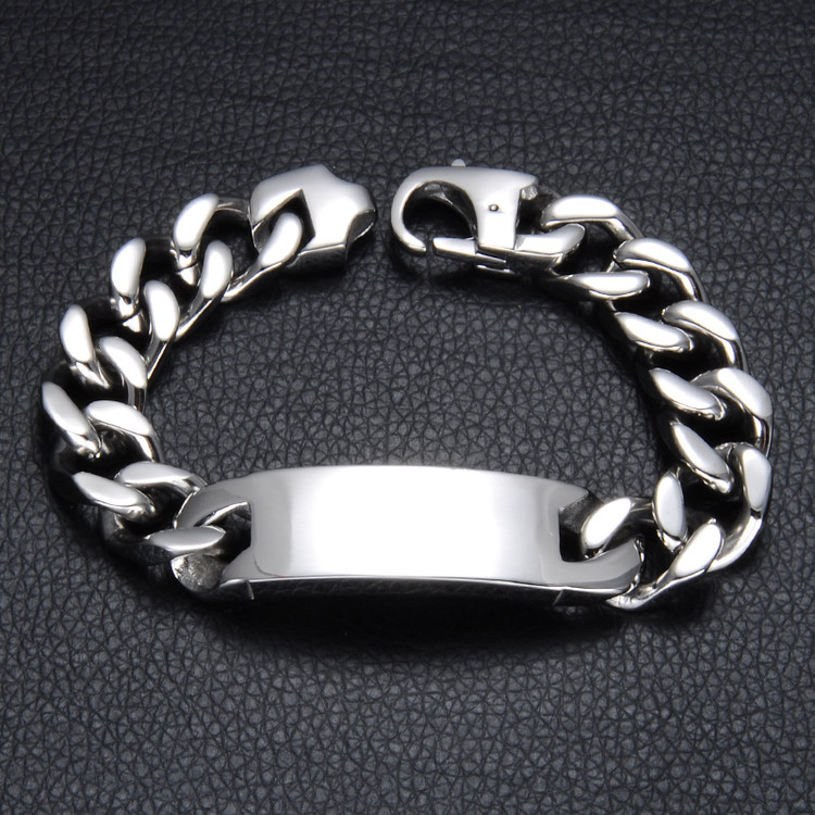 Stainless Steel ID Style Silver Cuban Link Chain Bracelet