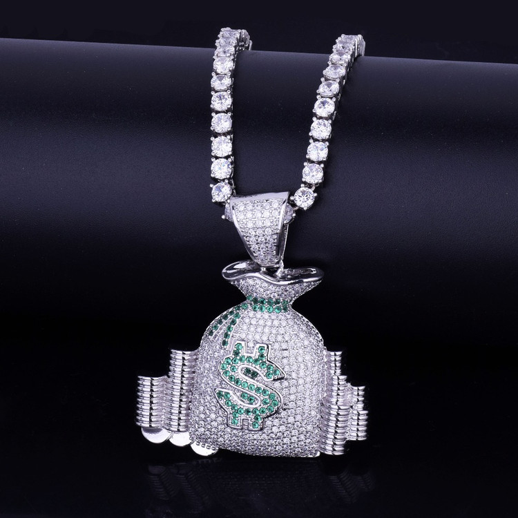 Money Bag Stack Iced Out Chain
