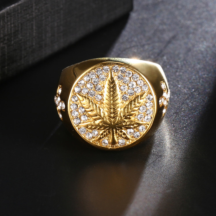 Lab Diamond Weed leaf Cannabis Hip Hop Ring