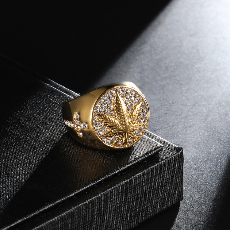 Hip Hop Weed Leaf Rings