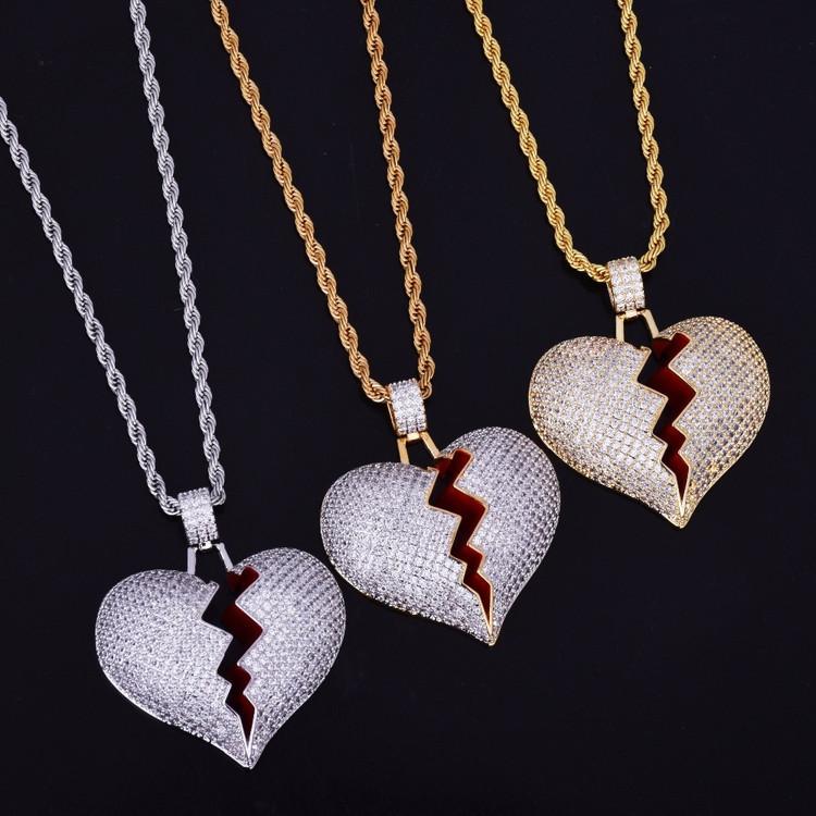 Lab Diamond Bling 14k Gold Silver Heart Breaker Chain