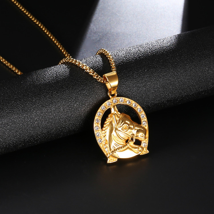 Bling Iced Out Lucky Horse Shoe Pendant