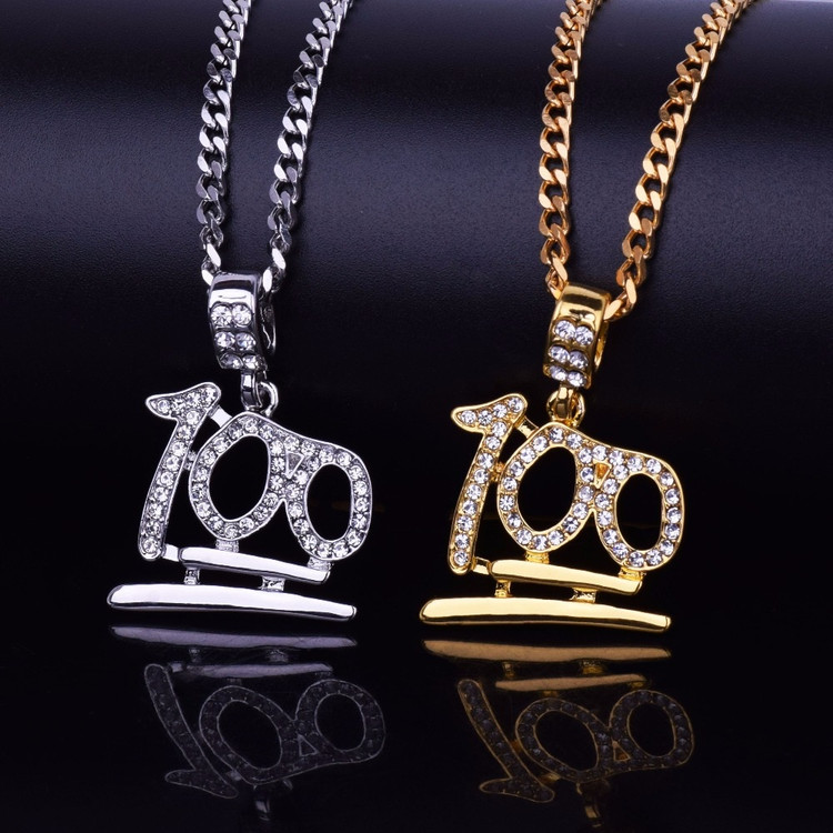 Lab Diamond Emoji Keep It 100 Hip Hop Bling Pendant