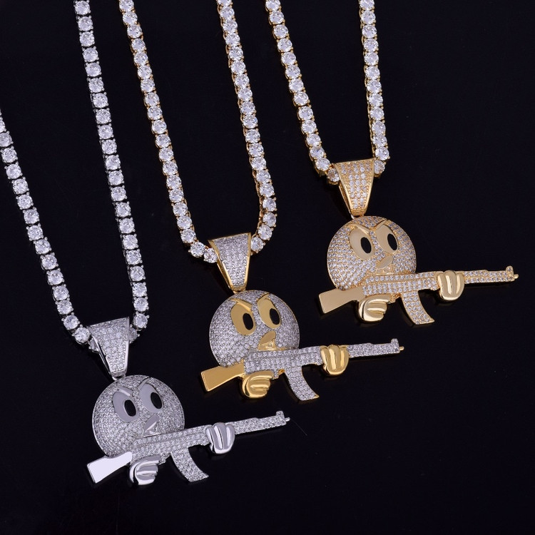 Iced Out Ak47 Emoji Face Lab Diamond Micro Pave Gun Pendant