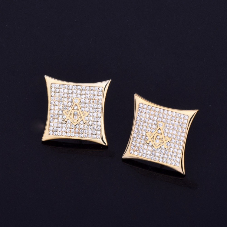 Masonic Lab Diamond Stud 14k Gold Silver Bling Earrings