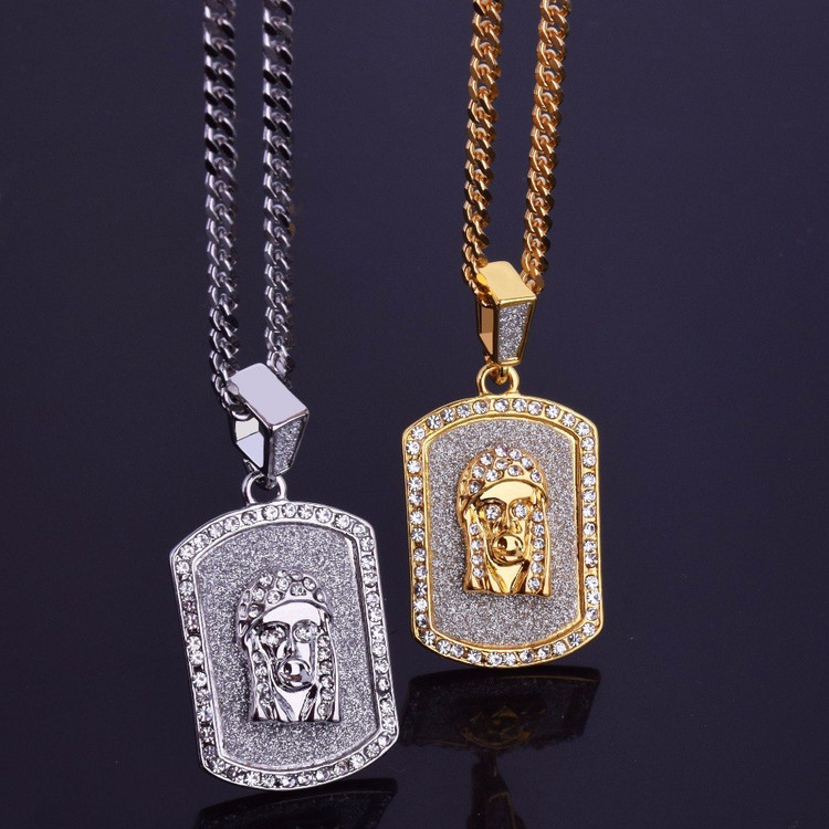 Jesus Face Dog Tag Chain