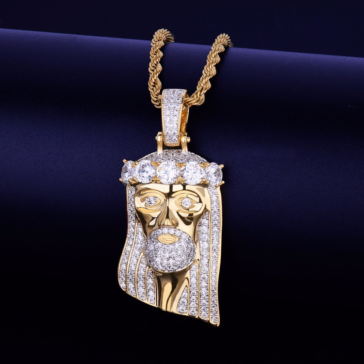 Salvation Jesus Head Piece Pendant Lab Diamond Chain
