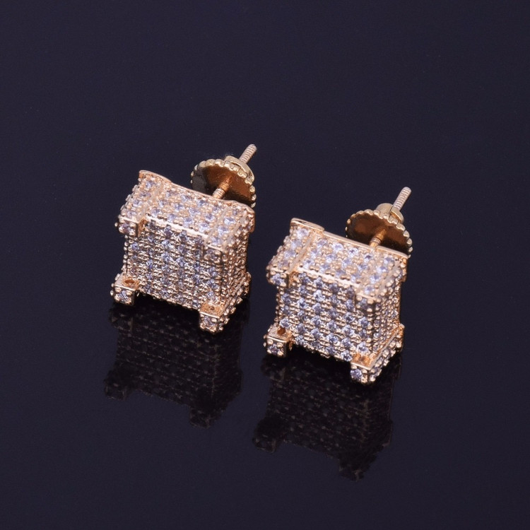 bb969c45629e6 Mens Gold Earrings, Hip Hop Gold Earrings, Diamond Cz Gold Earrings