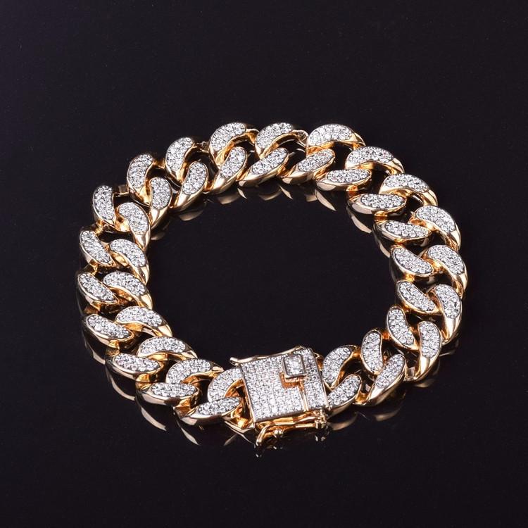 AAA Lab Diamond Micro Pave Cuban Link Chain Bracelet