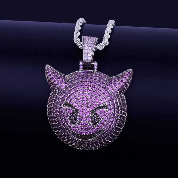 Purple Demon Evil Emoji Lab Diamond Chain