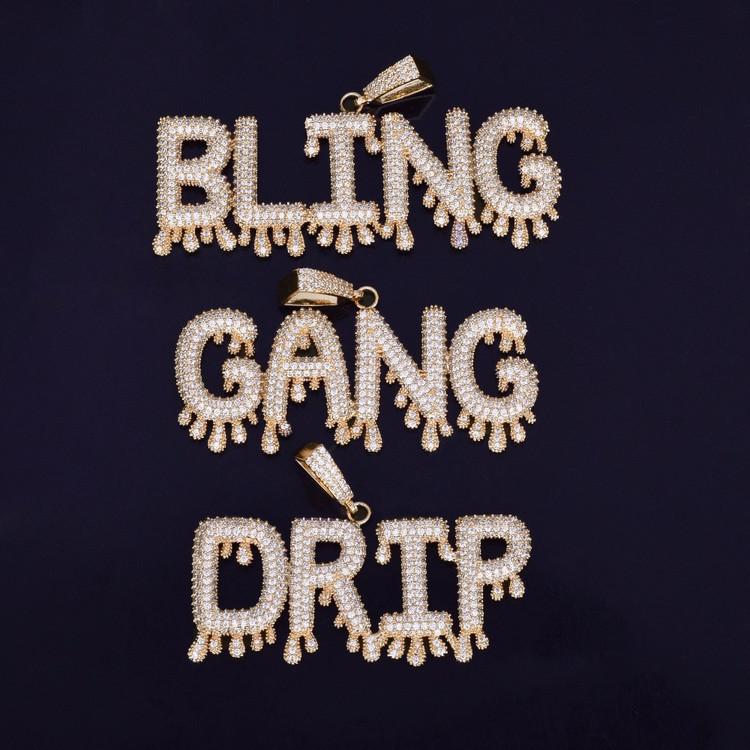 Bubble Letters Hip Hop Bling Pendant