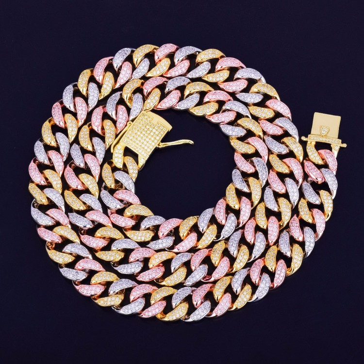 12mm Mixed Color Cuban Link Hip Hop Chain