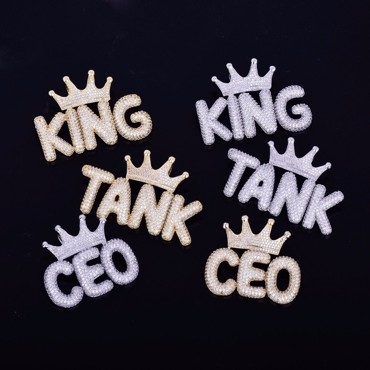 Iced Out Kings Crown Small Bling Bling Bubble Letters Custom Pendant