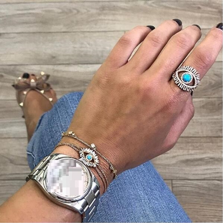 Gem Baguette Lab Diamond Evil Eye Bracelet
