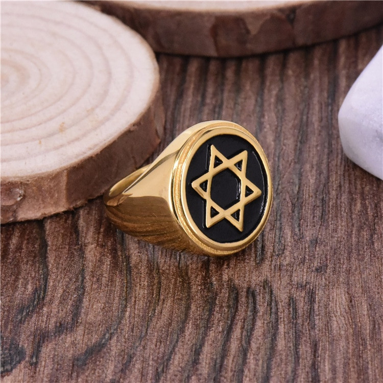 Jewish Star of David Stainless Steel Hexagon 14k Gold Ring