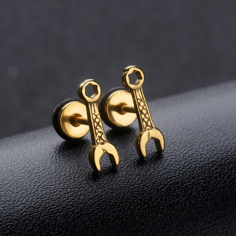 Titanium Steel Grease Monkey Wrench Earrings