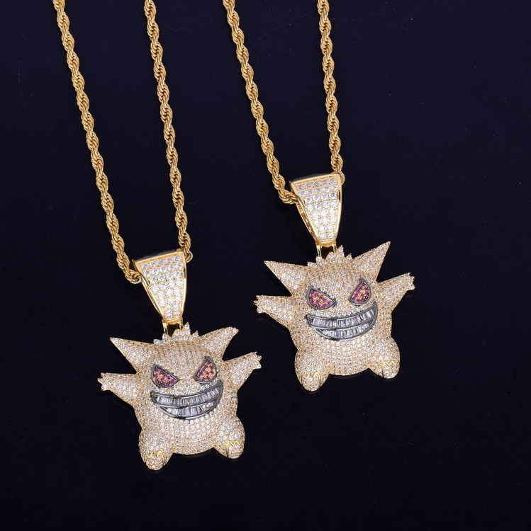 Bling AAA Lab Diamond Micro Paved Iced Out Pokemon Mask Gengar Pendant