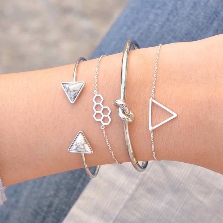Honeycomb Triangle Bracelet Set