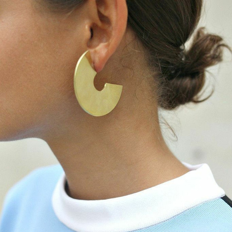 Ladies Gold Silver Semicircle Abstract Drop Earrings