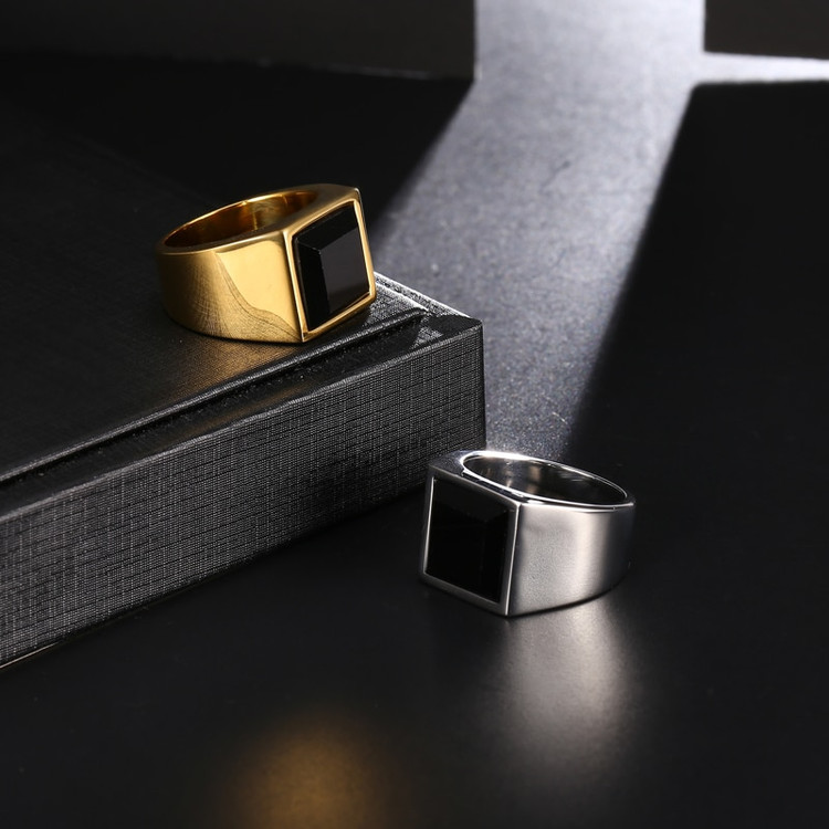 Silver 14k Gold Stainless Steel Obsidian Natural Stone Ring